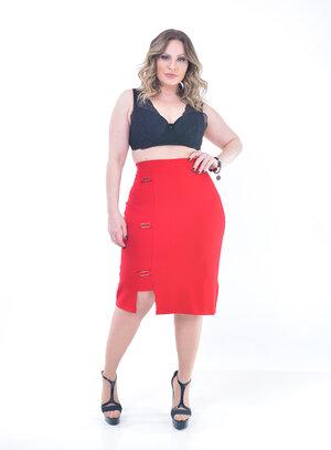 Saia Plus Size Secretária Carmim