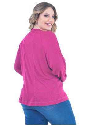 Blusa Plus Size Casual Púrpura