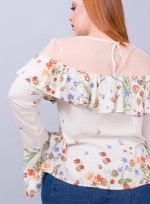 Blusa em Viscose com Manga Sino e Tule no Decote e Ombros Florido