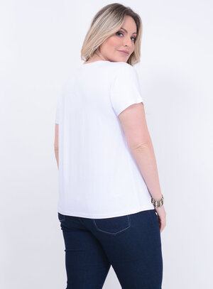 T-shirt Estampada Branca Plus Size