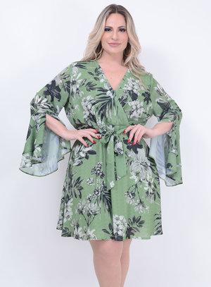 Vestido Transpassado Evasê Plus Size