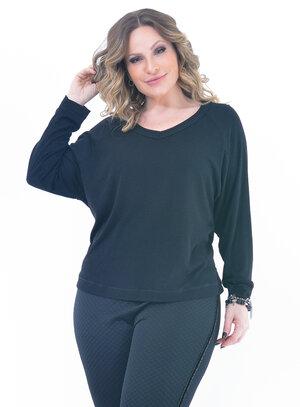 Blusa Plus Size Casual Preta
