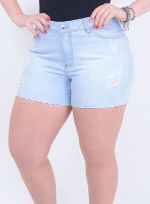Short em Jeans Destroyed com Barra Desfiada Delavê
