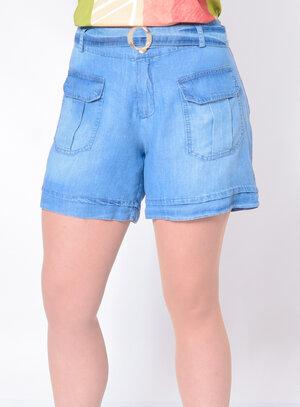 Short Jeans Plus Size com Cinto