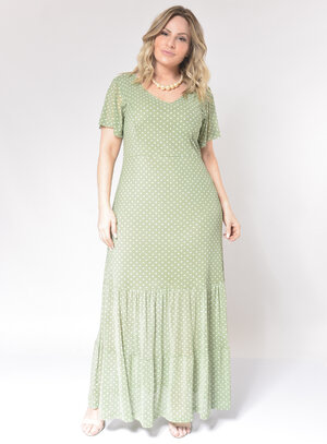Vestido Longo Plus Size Poá