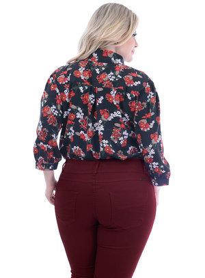 Camisa Marileti Floral Plus Size