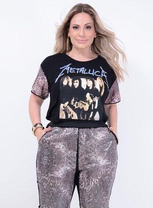 T-shirt em Malha com Mangas em Paetê Metallica