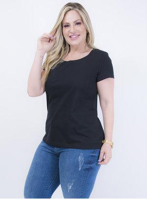 T-shirt Baby Look em Algodão Gola Careca Preta