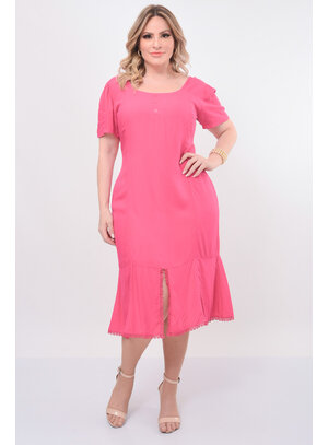 Vestido Plus Size Fenda Frontal