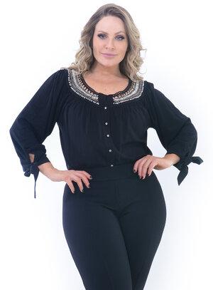 Blusa Plus Size Admiração Preta