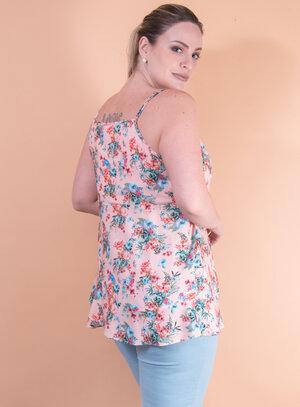 Blusa em Viscose com Babados e Estampa Floral
