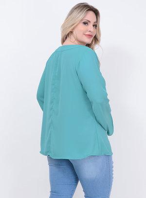 Blusa Amarração Verde Plus Size