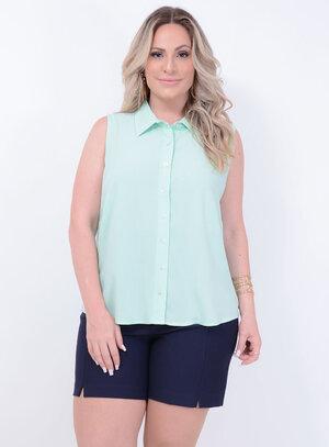 Camisa Clássica Verde Plus Size