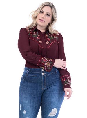 Camisa Marileti Bordada Marsala Plus Size