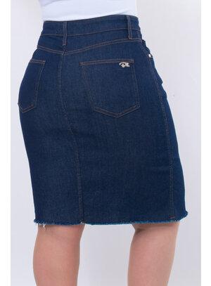 Saia Jeans Plus Size Longa Destroyed