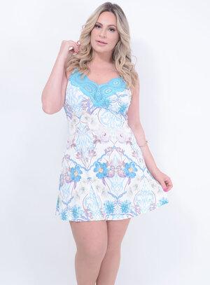 Camisola em Poliamida com Decote em Renda Estampa Floral Azul Tiffany