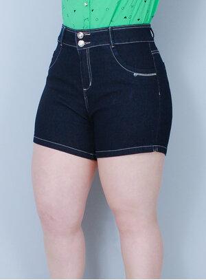 Short em Jeans com Elastano Cintura Alta Escuro