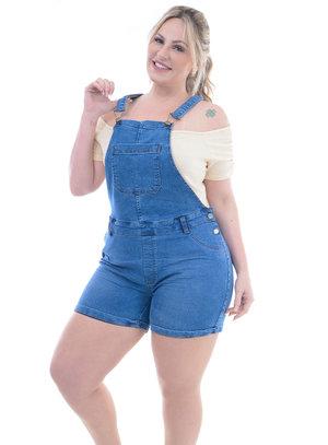 Jardineira Jeans Plus Size Aline