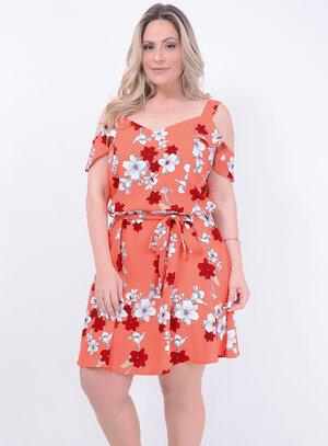 Vestido em Crepe com Elastano Ciganinha com Faixa Para Amarração Floral