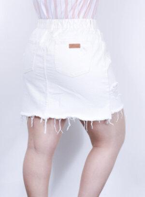 Saia em Jeans Destroyed com Elástico no Cós Off White