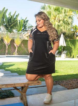 Vestido Plus Size Preto Lurex