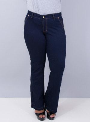 Calça Jeans Flare com Detalhes em Aplicação e Bordado nos Bolsos