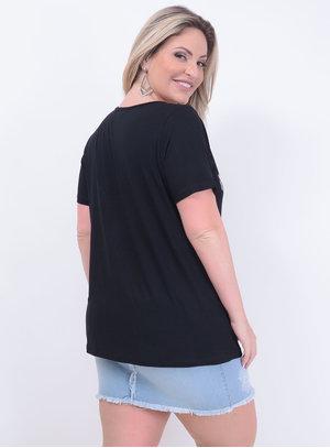 T-shirt em Malha Estampa Paris Chanel com Bordado Preto