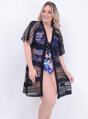Saída de Praia Kimono Preta Plus Size