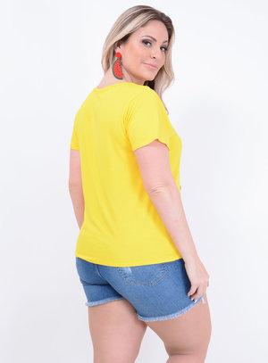T-shirt em Malha Choker com Estampa de Gato
