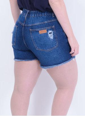 Short em Jeans com Elástico Destroyed Lavagem Stone