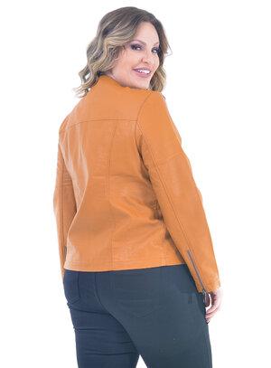 Jaqueta Plus Size PU Caramelo