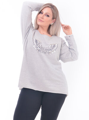 Moletom Strass Plus Size Asas