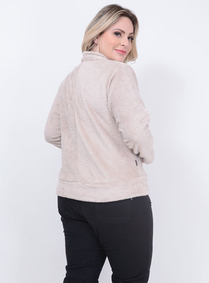 Casaco Pelos Zíper Plus Size