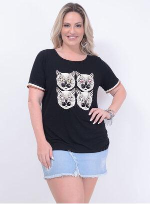 T-shirt em Malha com Estampa de Gatos com Bordado de Paetês e Manga Ribana