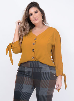 Camisa Marileti Botões Plus Size