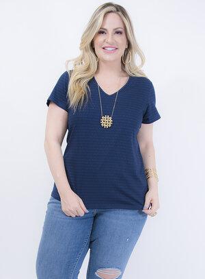T-shirt Baby Look em Algodão Gola V Azul Listrada
