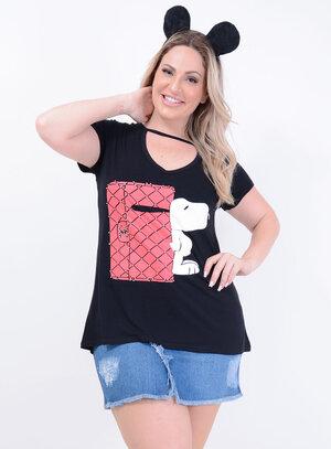 T-shirt em Malha Choker com Aplicação Snoopy Chanel Preta