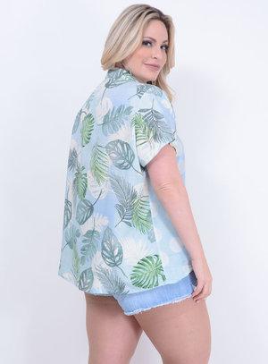 Camisa em Viscose com Mangas Curtas e Mix de Estampas Azul