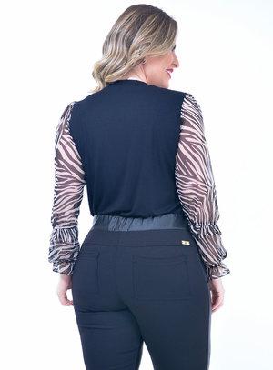 Blusa Plus Size Tule Preta