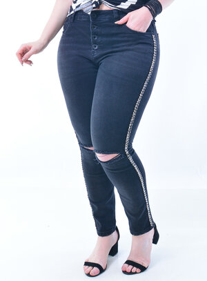 Calça Jeans Plus Size Bordada