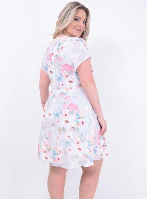 Vestido em Crepe com Amarração no Decote Acinturado com Flamingos