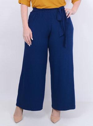 Calça Pantalona Laço Marinho Plus Size