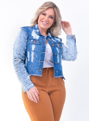 Jaqueta Plus Size Jeans Destroyed