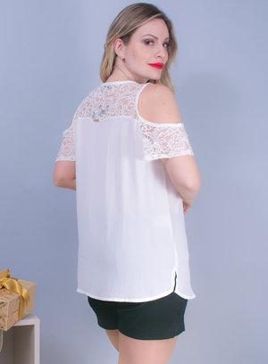 Blusa em Chiffon com Recorte no Ombro e Aplicação de Renda Off White