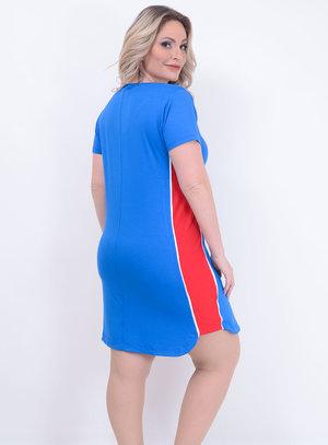Vestido Faixa Lateral Azul Plus Size