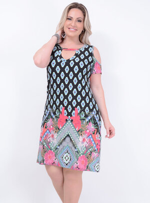 Vestido Malha Recorte Choker Plus Size