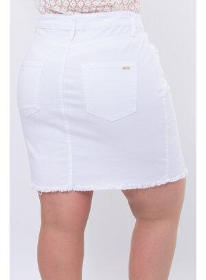 Saia Jeans Plus Size Branca