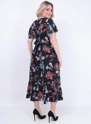 Vestido Midi Babados Floral Plus Size