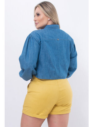 Camisa Cropped Plus Size Jeans