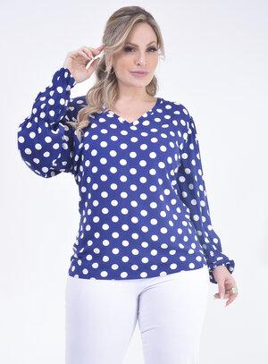 Blusa Plus Size Poá